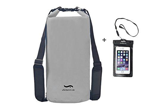 Uferdamm / wasserfester Drybag 20L grau/Smartphone Hülle/Survival Set/Seesack / Packsack/Strandtasche / 2er Set/Outdoor Rucksack/Trockentasche / wasserfester Schwimmbeutel/Seesäcke