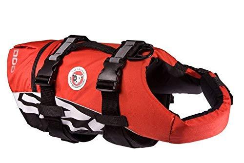 EzyDog DFD Schwimmweste Hund - Hundeschwimmweste - Schwimmwesten für Hunde - Größenverstellbar mit Griff und Reflektoren (M, Rot)