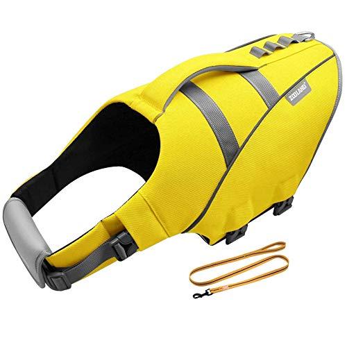 Sicherheit Hund Schwimmweste, Robust Auftrieb Schwimmhilfe Rettungswesten mit Hunde Leine, Reflektierende & Verstellbar Hundeschwimmweste für Schwimmen