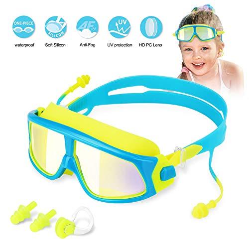 Kinder Schwimmbrille Wie Schutzbrille Schwimmbrillen für Kinder Taucherbrille, Anti Nebel UV-Schutz Kein Leck-Mit 2x Ohrstöpsel, 1x Nasenclips Aufbewahrungsbox Geschenk für Mädchen Jungen MEHRWEG