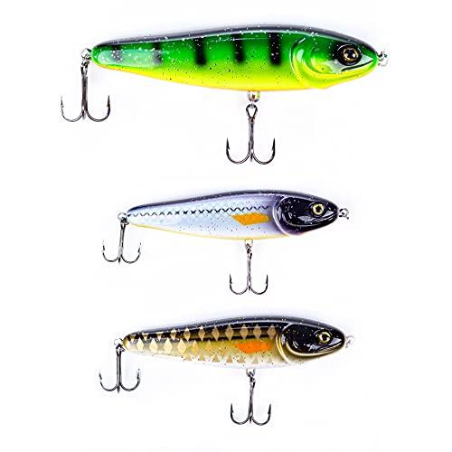 Zite Fishing Jerkbait-Set 12-15cm - Jerk Wobbler Angel-Köder Hecht-Angeln - 3 Fänfige Neon-Farben Teil UV-Aktiv