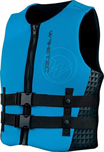 WAKETEC Neopren-Weste Mens, 50-N Prallschutz-Weste, schwarz-blau, Impact-Vest, Größen XS, S, M, L, XL, XXL, Unisex Wakeboardweste, Jet-Skiweste, Größe:XS