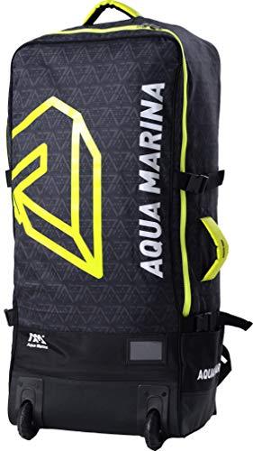Aqua Marina 3-in-1 Rucksack für SUPs & Kajaks PREMIUM LUGGAGE BAG mit Rollen 90L Schwarz/Gelb, Tragetasche mit Zubehörfächer