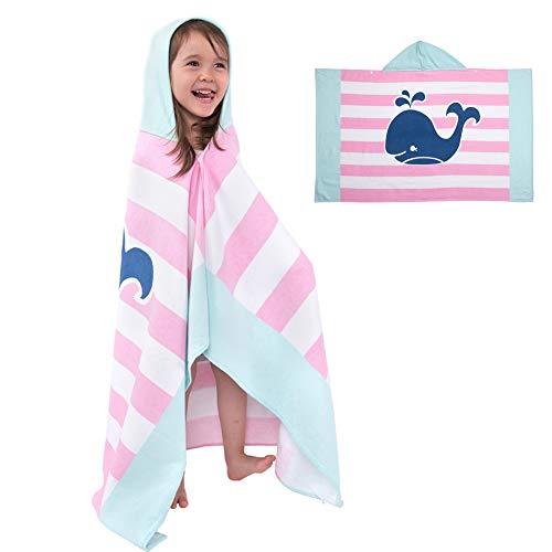 Badeponcho Kinder Kapuzenhandtuch Badetuch Bademantel Baumwolle Musselin Strandtuch für Schwimmen Mädchen Jungen Baby Weich Warm Trocknend Cartoon (Wal)