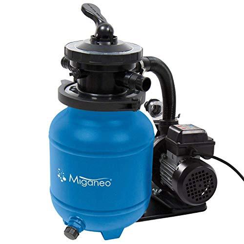 Miganeo Speed Clean 7000 Sandfilter mit Zeitschaltuhr für Pool bis 22m³ selbstsaugend (Blau)