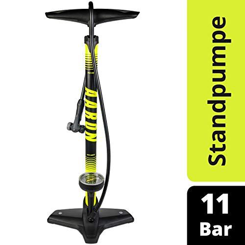 AARON Sport One Fahrrad Standpumpe mit Manometer für alle Ventile | Hochdruck Fahrradpumpe inkl. Ball Aufsatz | Luftpumpe für E-Bike, Mountainbike, Rennrad UVM. Gelb