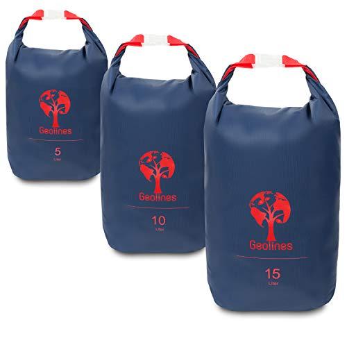 Geolines Dry Bags - Hochwertige Packsäcke für Dein Abenteuer/in 5/10 / 15 Liter Ultraleicht