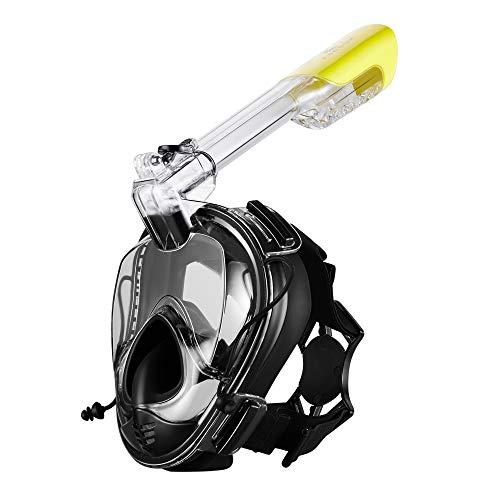 Khroom Schnorchelmaske Tauchermaske für Erwachsene | CO2 sichere Vollmaske | Seaview 180° mit Druckausgleich | Tauchmaske Vollgesichtsmaske Schwimmmaske (Schwarz Version 3.0)