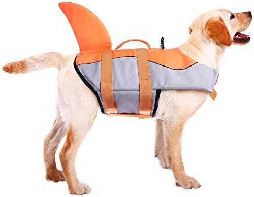 CITÉTOILE Hunde Schwimmweste Mit Weichem Griff Rettungsweste Schwimmkörper für Haustier Schwimmen Rafting Boot Fahren Surfen Training Gewässern, XS-XXL Grau