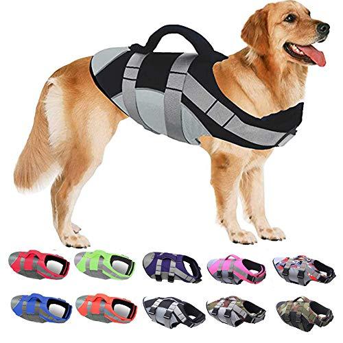 PJDDP Schwimmweste Für Hunde,Hundeschwimmweste,Ripstop Reflektierend Rettungswesten Für Hunde Mit Überlegenem Auftriebs Und Rettungsgriff,Schwimmmantel Schwimmtraining Für Hunde,Schwarz,XL