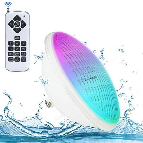 LED Poolbeleuchtung, 20W PAR56 RGB Schwimmbadleuchte. KOLLNIUN Unterwasserscheinwerfer mit Fernbedienung Poolbeleuchtung, 12V AC/DC IP68 Wasserdicht Pool Lampe [ Neue 2020 Version ]
