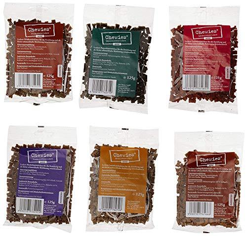 Chewies Hundeleckerli Mix MINI - 6 x 125 g - Rind, Pansen, Geflügel, Lamm, Wild und Lachs Knöchelchen - Fleisch Softies ohne Zucker - Hundesnack mit hohem Fleischanteil (750 g)