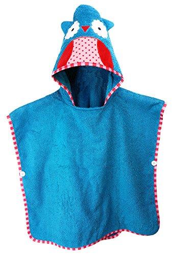 Schlupfi Badeponcho Kinder: Kinderhandtuch mit Kapuze - Handtuch Poncho mit Tiermotiv, Kapuzenhandtuch für Jungen und Mädchen, Eule in Blau, 60x120cm