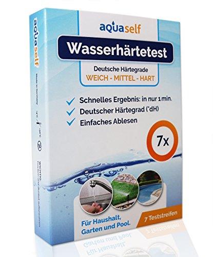 aquaself Wasserhärte Teststreifen – 7 Stück – Deutscher Härtebereich °dH – Wasserhärte testen in weich, mittel und hart.