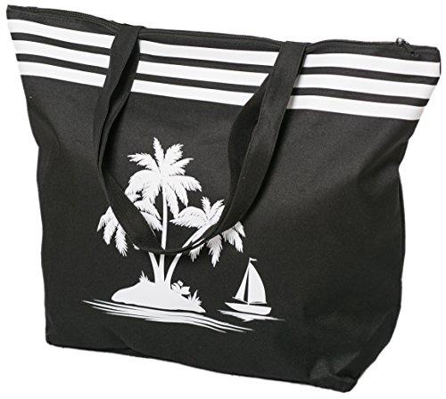 AIREE FAIREE Strandtasche Damen Schultertasche Shopper Sommer TascheVerschluss Reißverschluss Größe 50 x 40 x 16 cm Palme-Muster (Schwarz)