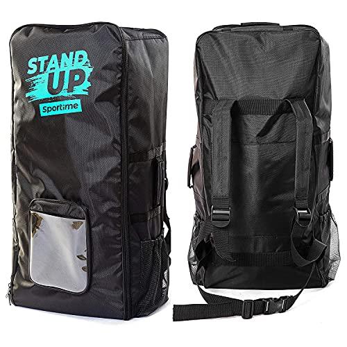 Sportime SUP Tasche | Rucksack Tragetasche für iSUP Board + Zubehör | 3 Tragegriffe, 1 Hauptfach, 2 Seitenfächern | Extrem stabiles Nylongewebe | 100x32x42 cm | 1 kg | Schwarz