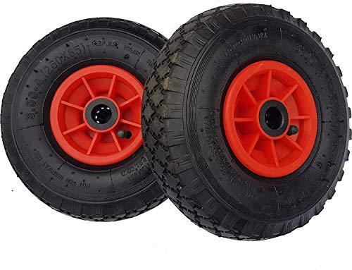 Frosal 2 x Rad Bollerwagen | 25 mm Achse |Ersatzrad Reifen Sackkarre | Ersatzreifen | Sackkarrenrad Luftreifen Rollenlager Kugellager