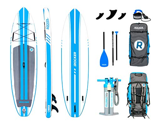 iROCKER All-Around Aufblasbares Stand Up Paddle Board 3,35 m lang 81 cm breit 15 cm Dickes SUP Set (White/Blue Stripe 2019)