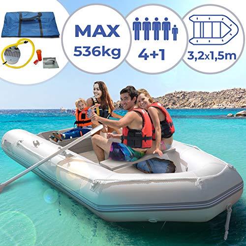 Schlauchboot für 4 Personen - 320 x 152 cm, 2 Alupaddel, Fußluftpumpe, bis 536 kg, mit Aluboden, für 4 Erwachsene und eventuell 1 Kind - Ruderboot, Paddelboot, Angelboot, Gummiboot, Sportboot