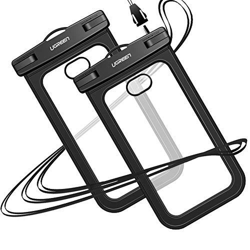 UGREEN wasserdichte Handyhülle 2 Stück Handy Tasche wasserfest Handy Hülle kompatibel mit iPhone XS XR X 8 Plus 7 Plus 6, Samsung S10 S9 S8 A8 A5, Huawei P20 Pro P20 Lite Mate 10 usw. bis zu 6.2 Zoll