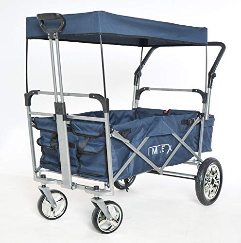 IMLEX IM-2001 Mitternachtblau Faltbarer Bollerwagen mit Schiebe u. Zieh Funktion, Große Hinterräder mit Stoßdämpferfederung und Bremse, Chrom Felgen