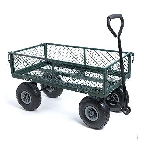 wuuhoo® I Bollerwagen Elton mit abnehmbaren Seiten I Gartenwagen mit Luftreifen I Gitterwagen aus Stahl pulverbeschichtet und wetterbeständig I Handwagen und Transportkarre bis 350kg