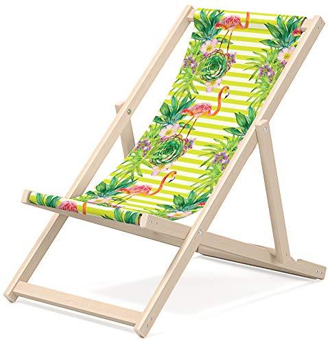 OUTENTIN Gartenliege klappbar, Liegestuhl aus Holz, Sonnenliege, Klappstuhl, Relaxliege, mehrere einzigartige Muster, Motiv:Grüne Blätter