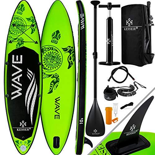KESSER Aufblasbare SUP Board Set Stand Up Paddle Board   366x76x15cm 12.0'   Premium Surfboard Wassersport   6 Zoll Dick   Komplettes Zubehör   130kg, Grün