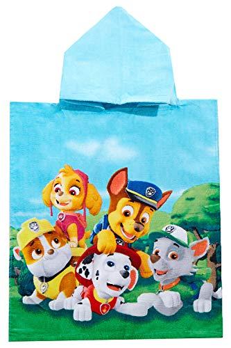 Nick Junior Poncho Badeponcho mit Kapuze bunt Gruppenbild mit Rubble, Chase, Skye, Marshall und Rocky, für Kinder, 50 x 115 cm, 100% Baumwolle