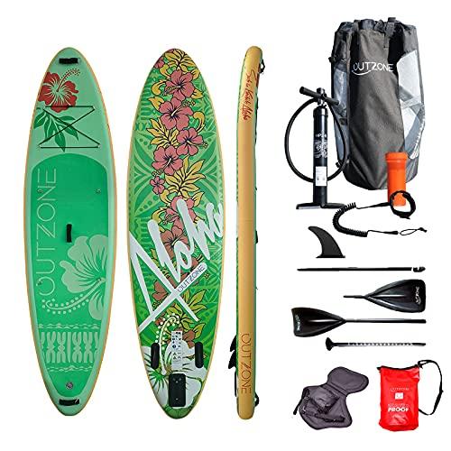 Outzone® Aloha, aufblasbares Allround iSUP Stand-up Paddling Board, grün-rot-weiß im Hawaii-Design mit Kajak-Sitz & Drybag und Zubehör