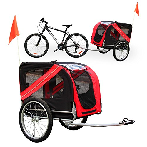 Wiltec Hunde Fahrradanhänger mit Sicherheitsdrehkupplung, Fliegengitter & Regenschutz