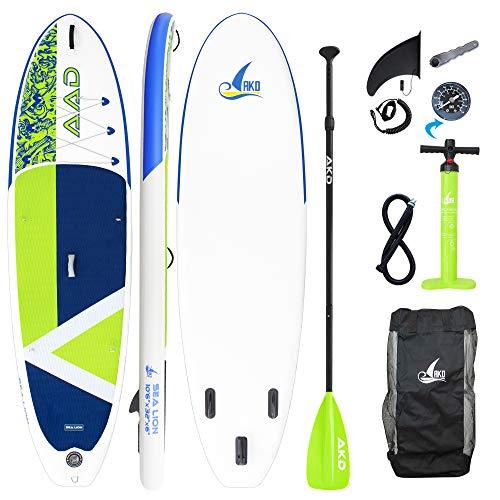 AKD Stand Up Paddling Board Sea Lion 10'6' 320x81x15cm SUP Board 150kg/318L, Pumpe mit Manometer, Verstellbarer Sport Alu-Paddel, Rucksack und Leash (Grasgrün)
