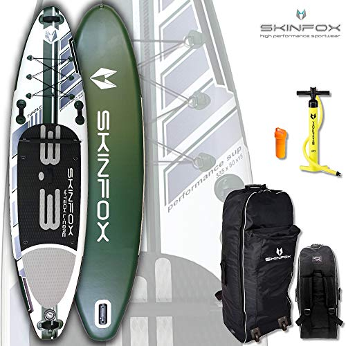 SKINFOX Turtle Carbon-Set (335x80x15) 4-TECH L-CORE SUP Board Paddelboard grün NEUESTE SUP Generation - Testsieger 2018 (Board,Bag,Pumpe)
