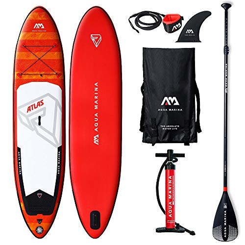 Aqua Marina Aquamarina Atlas-SUP-Stand Up Paddle Board mit Paddel, Leine, Magic Back Pack, und Double Action Pump, Mehrfarbig, L