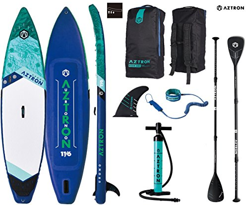 Aztron URONO 11.6 Double Double SUP Stand up Paddle Board mit Speed Carbon Paddel und Leash