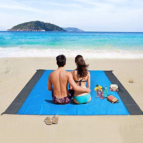 Stranddecke, laxikoo Picknickdecke 210 x 200 cm Wasserdichte Sandabweisende 4 Befestigung Ecken Ultraleicht kompakt Campingdecke Ideal für Reisen, Camping und Picknick