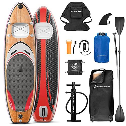 Messe-Neuheit 2020! Premium WBX SUP-Board mit 2in1 Sichtfenster | Action-Cam Ready +9in1 Set | Deutsches Qualitätsunternehmen | Aufblasbares Stand Up Paddel Board |Wassersport Kajak Sitz | Surfbrett