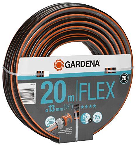Gardena Comfort FLEX Schlauch 13 mm (1/2 Zoll), 20 m: Formstabiler, flexibler Gartenschlauch mit Power-Grip-Profil, aus hochwertigem Spiralgewebe, 25 bar Berstdruck, ohne Systemteile (18033-20)