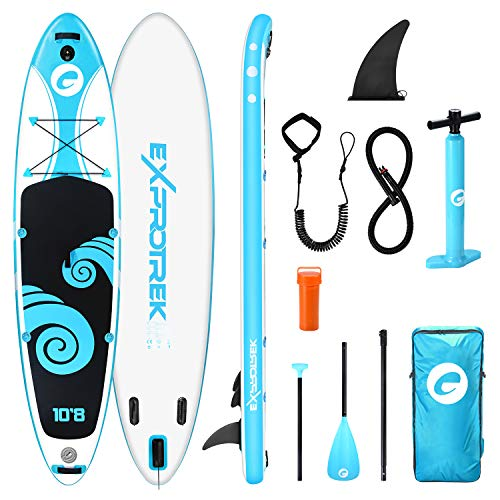 Exprotrek Stand Up Paddling Board, aufblasbares SUP Board, Stand Up Paddle Board Set, 6 Zoll dick für alle Schwierigkeitsgrade mit Paddel und komplettem Zubehör (150KG MAX)