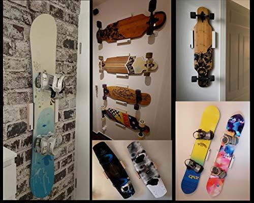 Clipboart  Standard Wandhalterung weiß für Longboard Snowboard Wakeboard Halterung Wandmontage Wandhalter Halter Holz horizontal vertikal diagonal Clipboard
