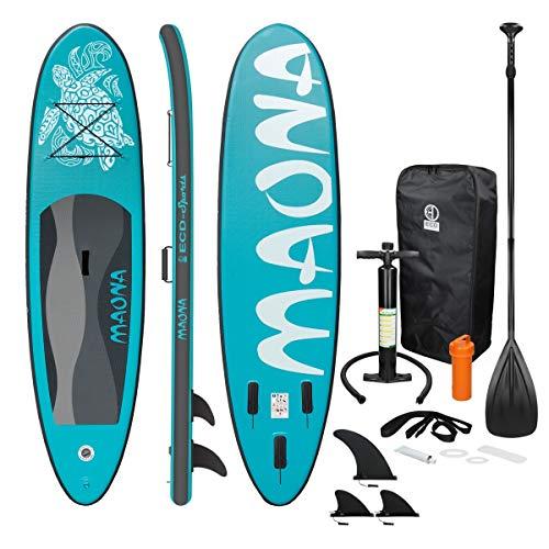 ECD Germany Aufblasbares Stand Up Paddle Board Maona   308 x 76 x 10 cm   Türkis   PVC   bis 120kg   Pumpe Tragetasche Zubehör   SUP Board Paddling Board Paddelboard Surfboard   Verschiedene Modelle