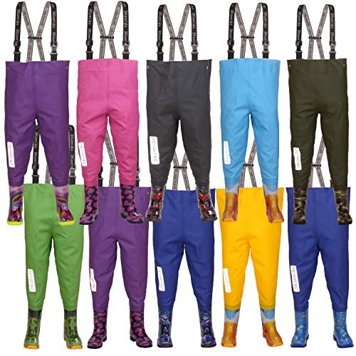 3Kamido Kinderwathose, Jugendliche Kinder Brust Wathose - 10 Modelle, verstellbare Taille, strapazierfähige Hosenträger, Schnalle Nexus, Kinder Angeln Stiefel 20 – 35 EU
