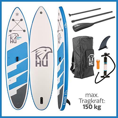 KAHU Tour 10'8'' Stand up Paddling Board – aufblasbares iSUP Board komplett Set inkl. Alu-Paddel und Pumpe - Touringboard für Anfänger – 300/325x78x15cm – 120/150kg Traglast – Kajak Sitz als Zubehör
