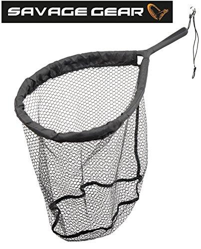 Savage Gear Pro Finezze Rubbermesh Net 40x50x50cm Watkescher - Angelkescher zum Watangeln, Kescher zum Spinnfischen