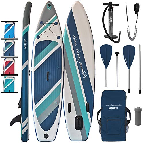 ALPIDEX Stand Up Paddle Set SUP 320 x 76 x 15 cm max.130 kg Aufblasbar Stabil Leicht Komplett Set Tragetasche Paddel Finnen Luftpumpe Leash Repair Kit, Farbe:Cloud
