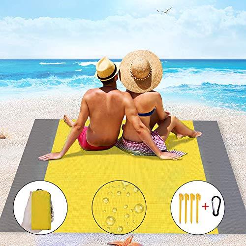 IvyLife Stranddecke 200 X 210 cm Picknickdecke Sandabweisende Campingdecke Wasserdicht Strandmatte 4 Pfähle Tragbar Ultraleicht Sandfrei für Park BBQ,Strand,Reisen,Camping (Gelb)