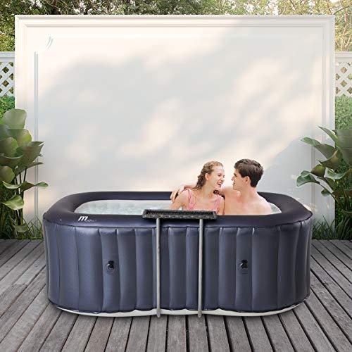 Miweba MSpa aufblasbarer Whirlpool 2021 Urban Nest U-NE021 - für 2 Personen - 104 Luftdüsen - M-ONE & Ozon-UV-C-Desinfektion - Rattan-Tisch (3 Personen)