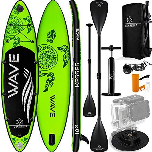 KESSER® Aufblasbare SUP Board Set Stand Up Paddle Board   366x77x15cm 12.0'   Supboard Premium Surfboard Wassersport   6 Zoll Dick   Komplettes Zubehör   130kg Grün