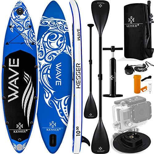 KESSER® Aufblasbare SUP Board Set Stand Up Paddle Board   320x76x15cm 10.6'   Supboard Premium Surfboard Wassersport   6 Zoll Dick   Komplettes Zubehör   130kg Blau