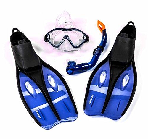 Dunlop Kinder-Profi-Schnorchel-Set mit Tauchmaske, Schnorchel und Flossen, Größe S oder XS, lieferbar in den Farben Blau, Grün, oder Orange (XS (32-34), Orange)